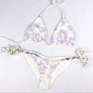 Beach Bunny Swim - My Cute White W/ Purple Flowers Beach Bunny Bikini